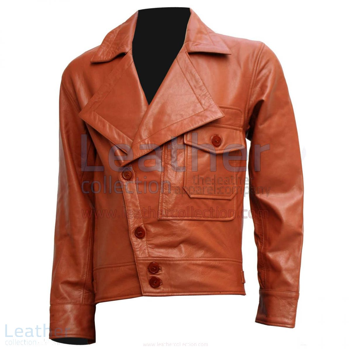 Aviator Movie Tan Biker Leather Jacket front view