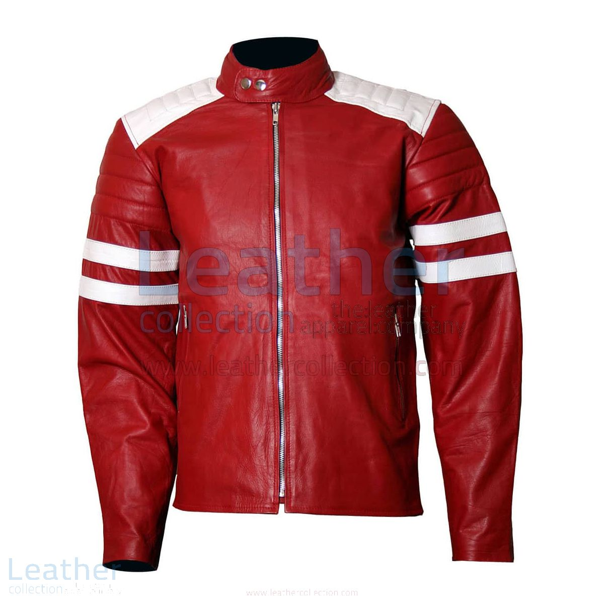 Brad Pitt Fight Club Red Leather Jacket Men front view