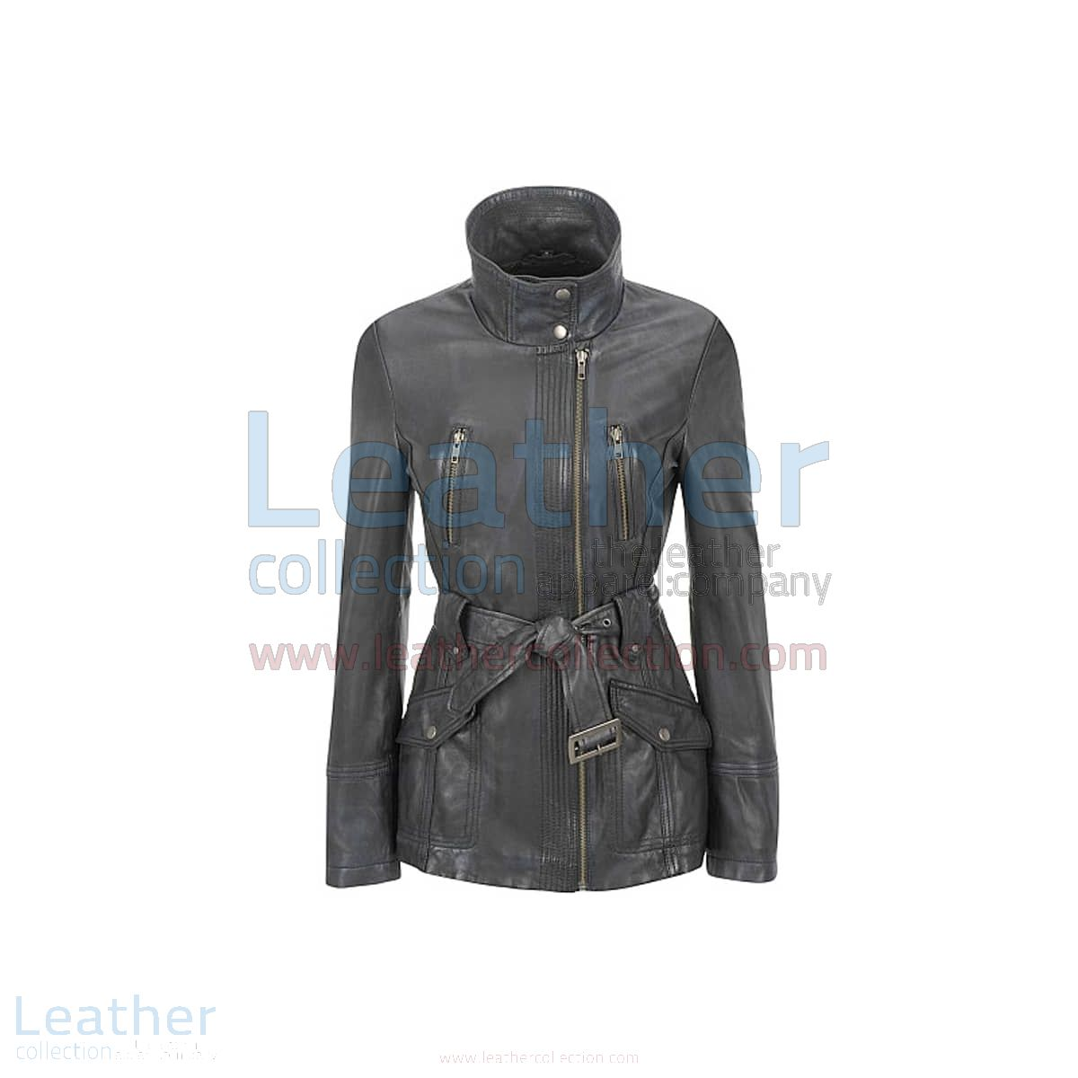 Stand Collar Belted Lamb Trench Coat front view