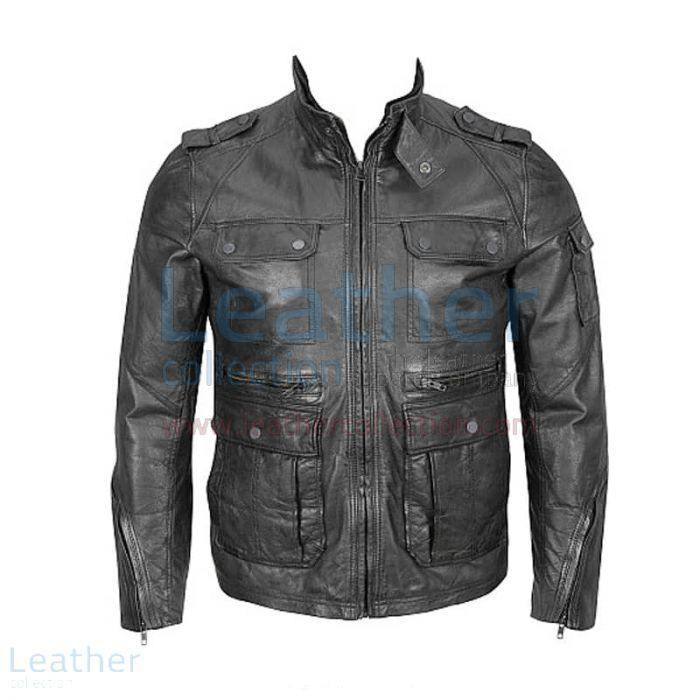 4-Pocket Hipster Washed Leather Jacket front view