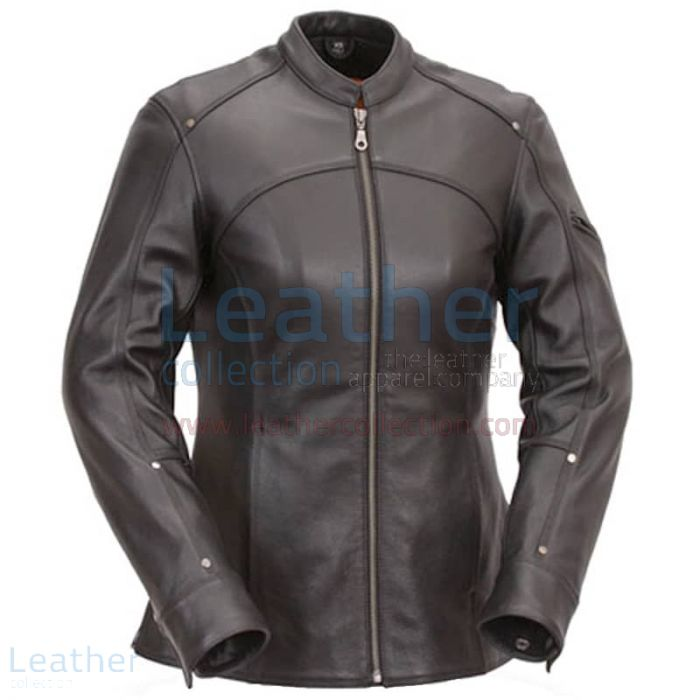 3/4 Length Touring Motorcycle Leather Jacket front view