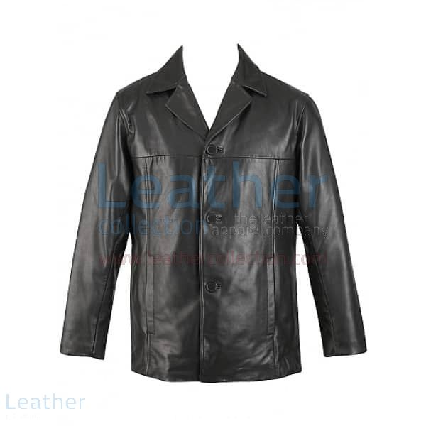 3 Button Mens Leather Blazer front view