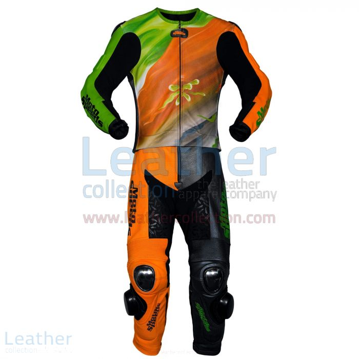 Abstract Race Leather Riding Suit two piece front view