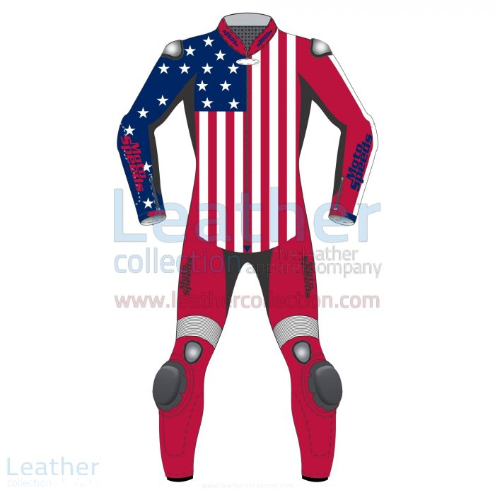 American Flag Leather Motorcycle Suit front view