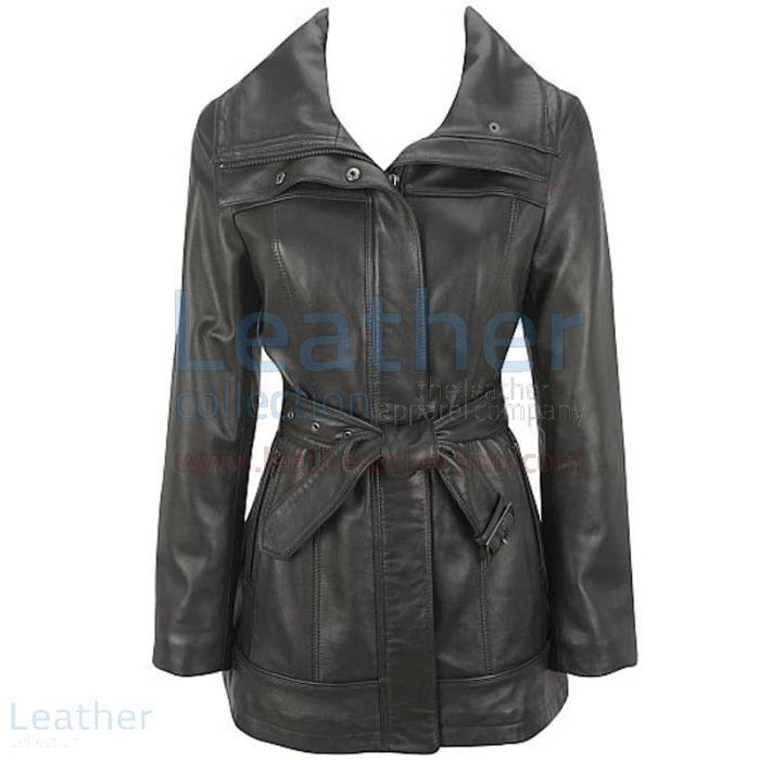 Belted Leather Duffle Coat front view