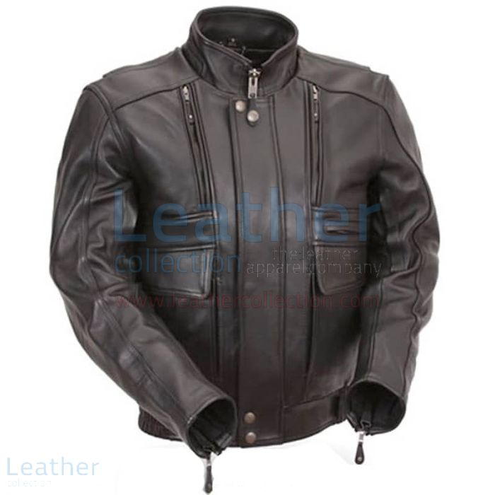 Biker Naked Leather Jacket with Side Stretch Panels front view