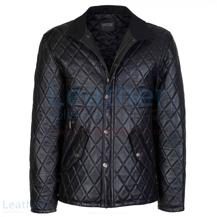 Black Diamond Leather Jacket front view