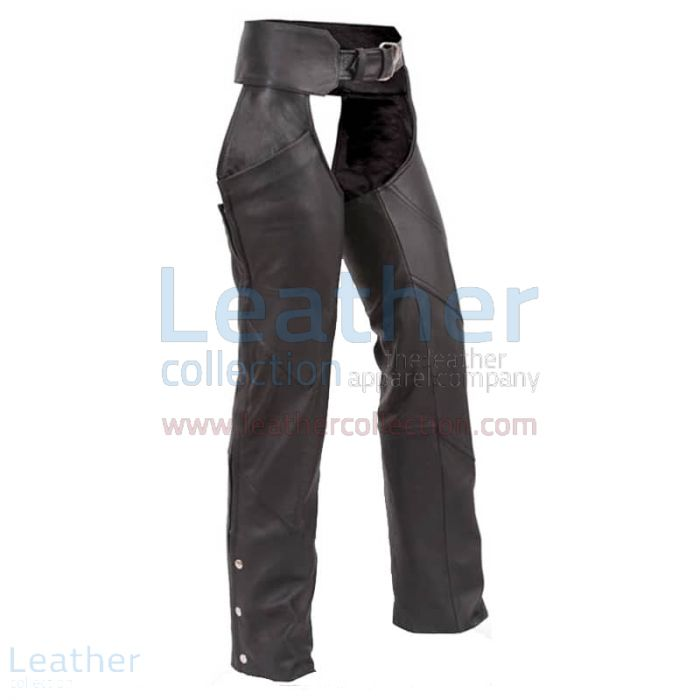 Black Leather Chaps front view