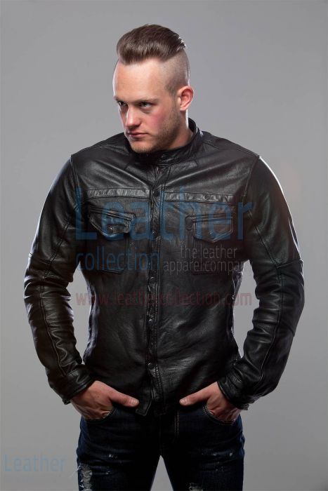 Black Shirt Style Jacket for Men front view