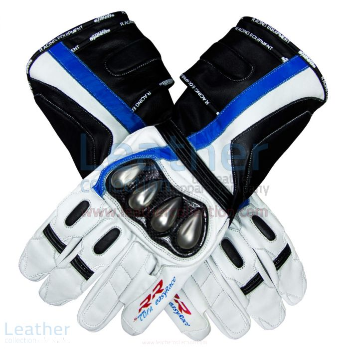BMW S1000 RR Motorcycle Leather Gloves upper view