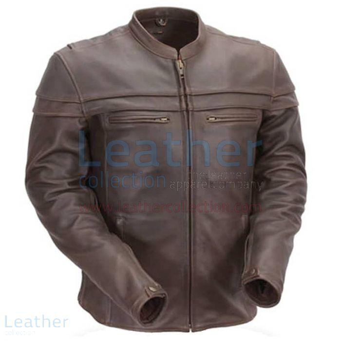 Brown Mandarin Collar Biker Leather Jacket front view
