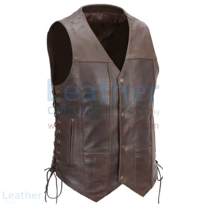 Brown Premium Leather Motorcycle Vest front view