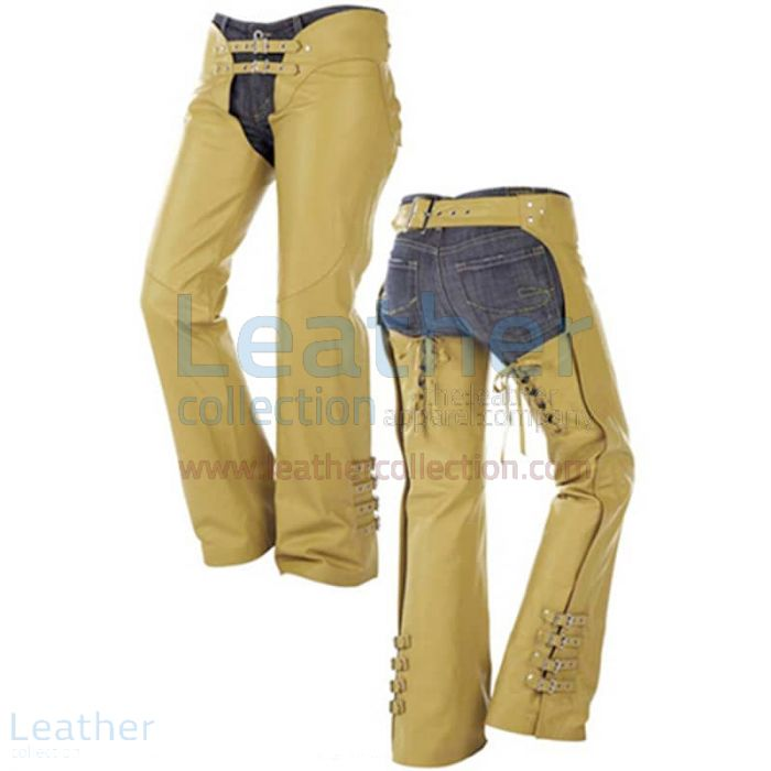 Buckles on Legs Leather Cowboy Chaps front view
