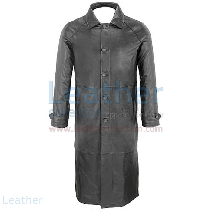 Classic Black Leather Trench Coat Front View