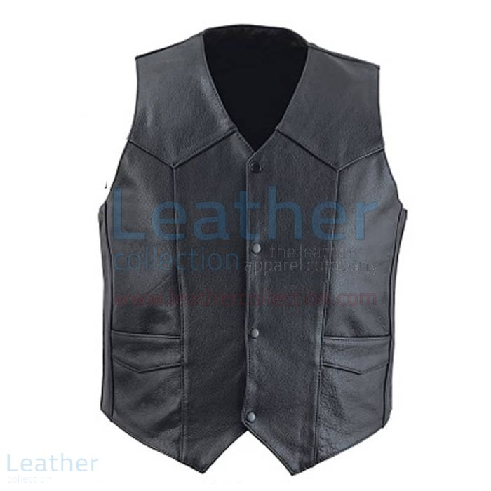 Classic Black Leather Vest for Men front view