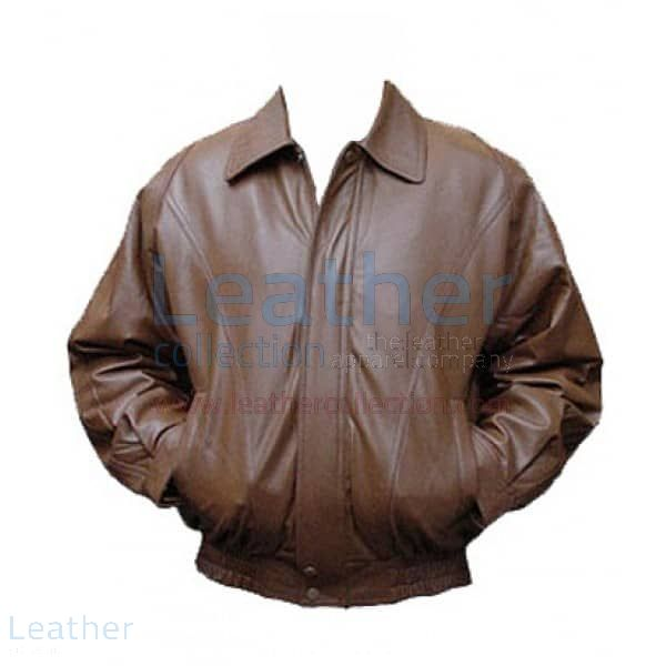 Brown Bomber Leather Jacket front view