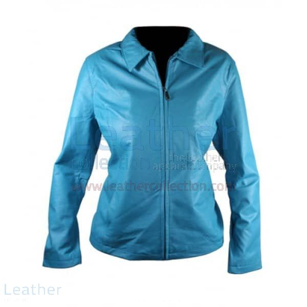 Classic Ladies Blue Leather Jacket blue front view