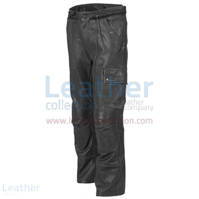Classic Leather Motorcycle Trousers front view