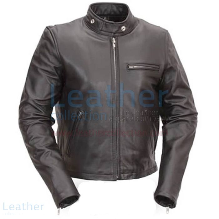 Classic Leather Scooter Jacket front view