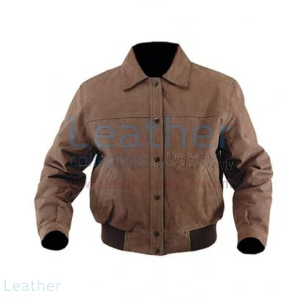 Classic Nubuck Leather Bomber Jacket front view
