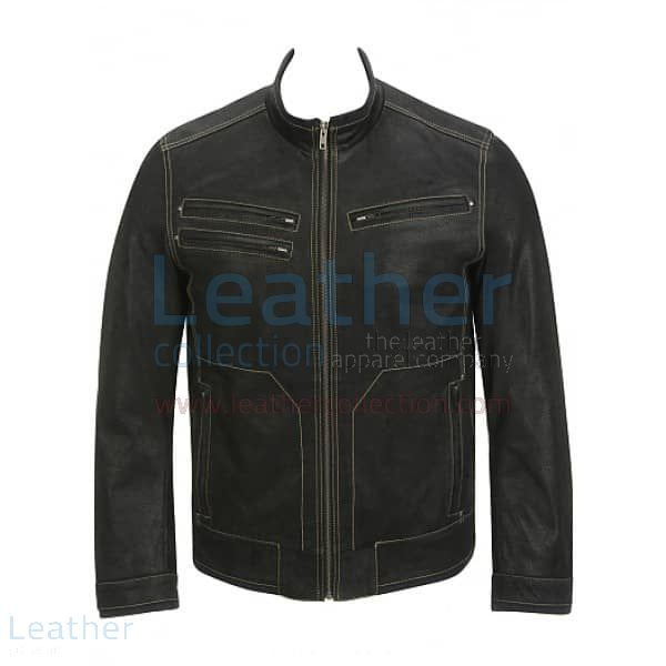 Contrast Stitches Black Moto Fashion Leather Jacket front view
