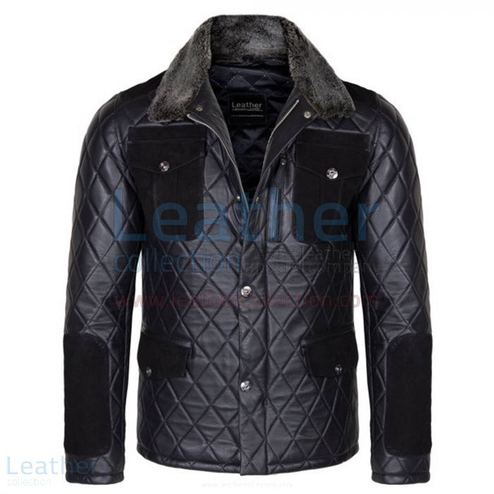 Diamond Leather Jacket with Fur Collar & Flapped Pockets front view