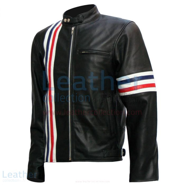 Easy Rider Captain America Biker Black Leather Jacket front view