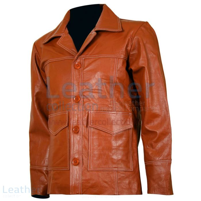 Fight Club Original Tan Leather Jacket front view