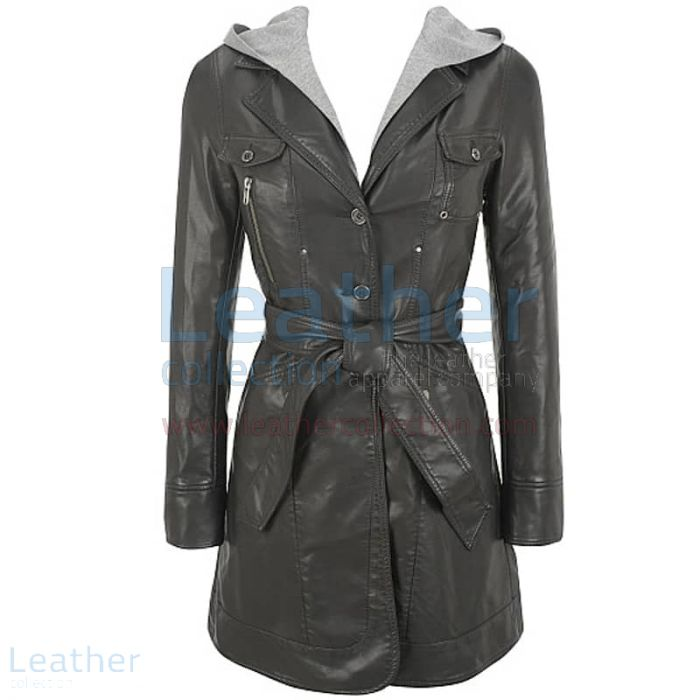 Hooded Leather 3/4 Length Coat Womens front view