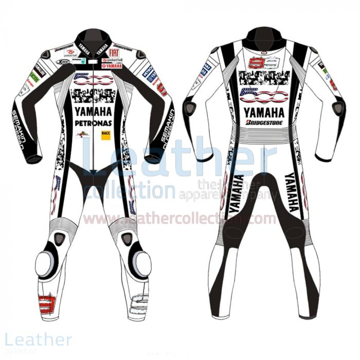 Jorge Lorenzo Special 500 Mila Leathers front and back view