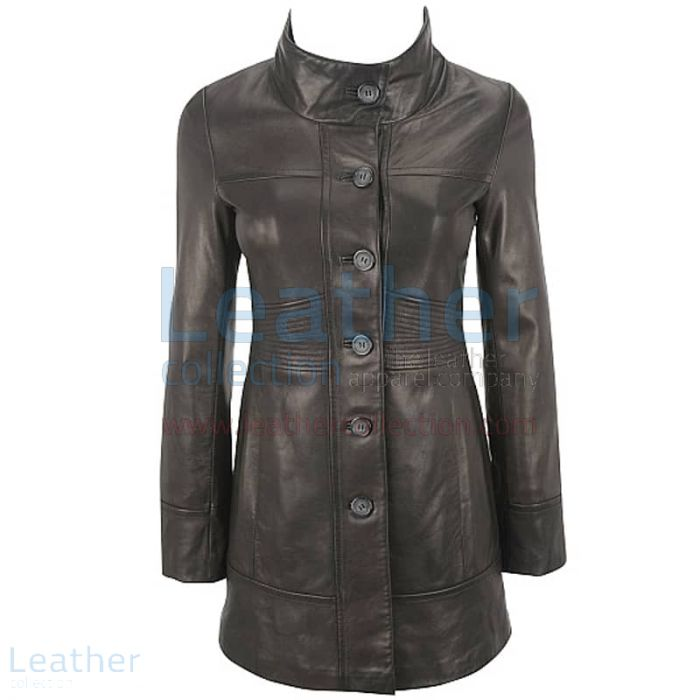 Ladies 3/4 Length Coat With Trapunto Stitched Waist front view