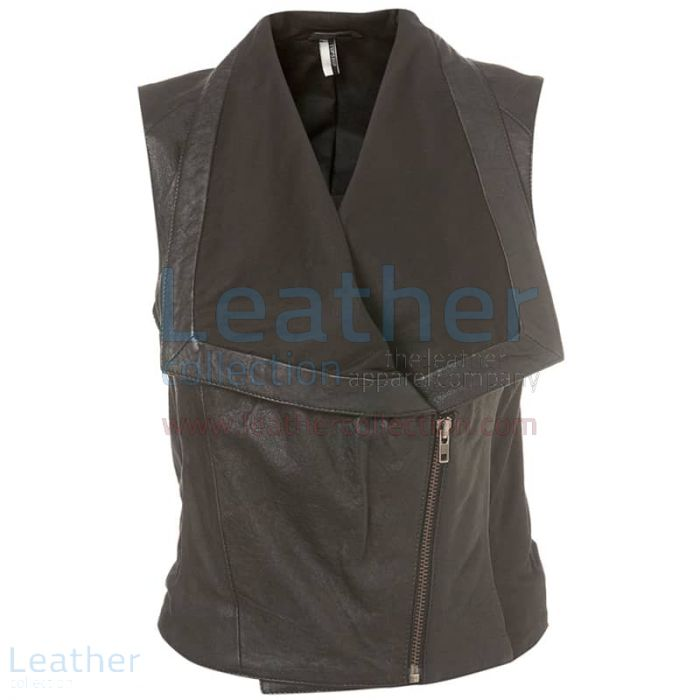 Ladies Fashion Leather Vest front view