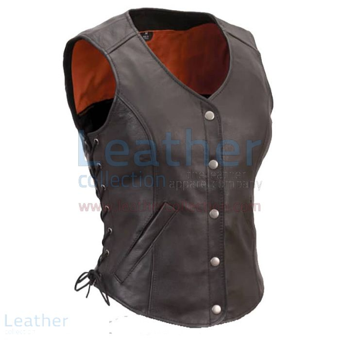 Ladies Motorcycle Leather Vest with Side Laces front view