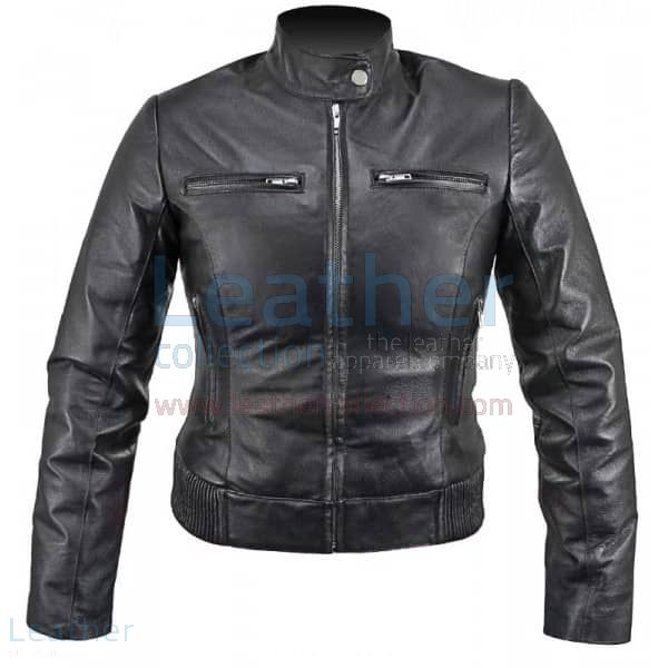Ladies Waist Length Leather Jacket front view