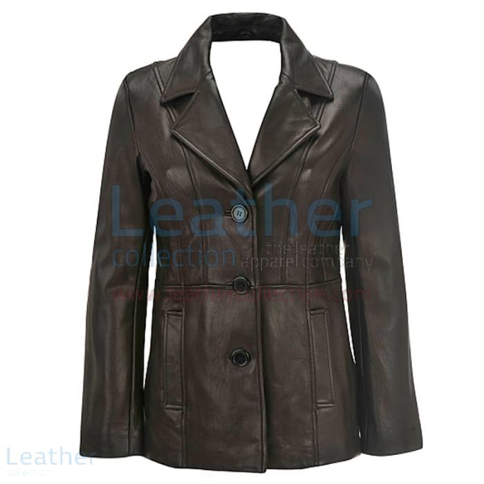 Leather 3 Button Blazer For Women front view