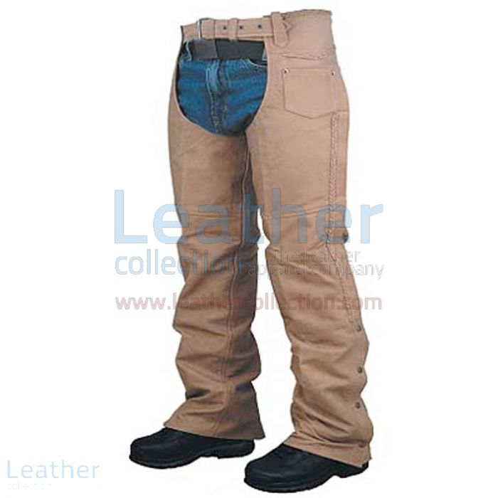 Leather Braided Chaps For Men front view