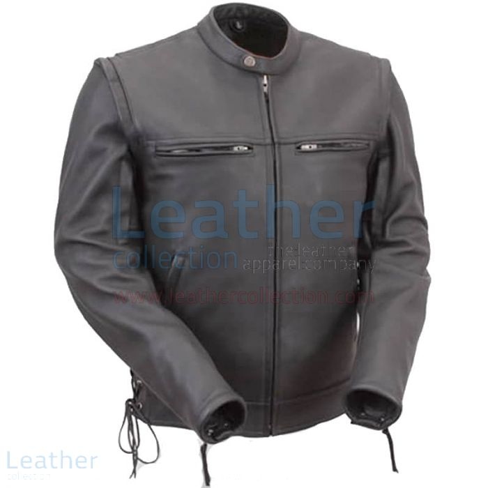 Leather Moto Jacket with Zip-Off Sleeves front view