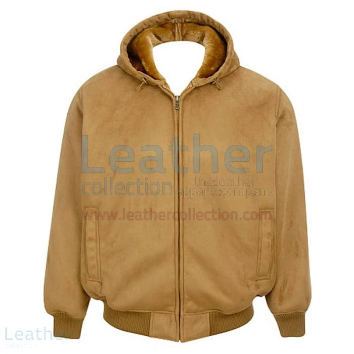 Leather Shearling Hooded Bomber front view