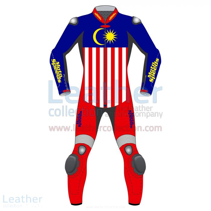 Malaysia Flag Leather Motorbike Suit front view