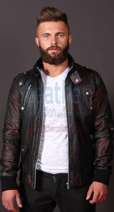 Men Devil Perforated Bomber Jacket front view