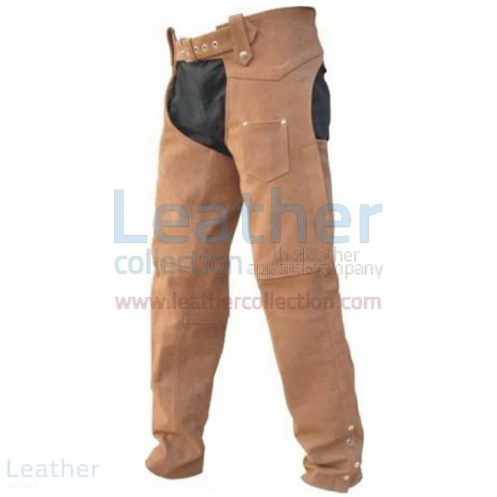 Men's Leather Riding Braided Chaps front view