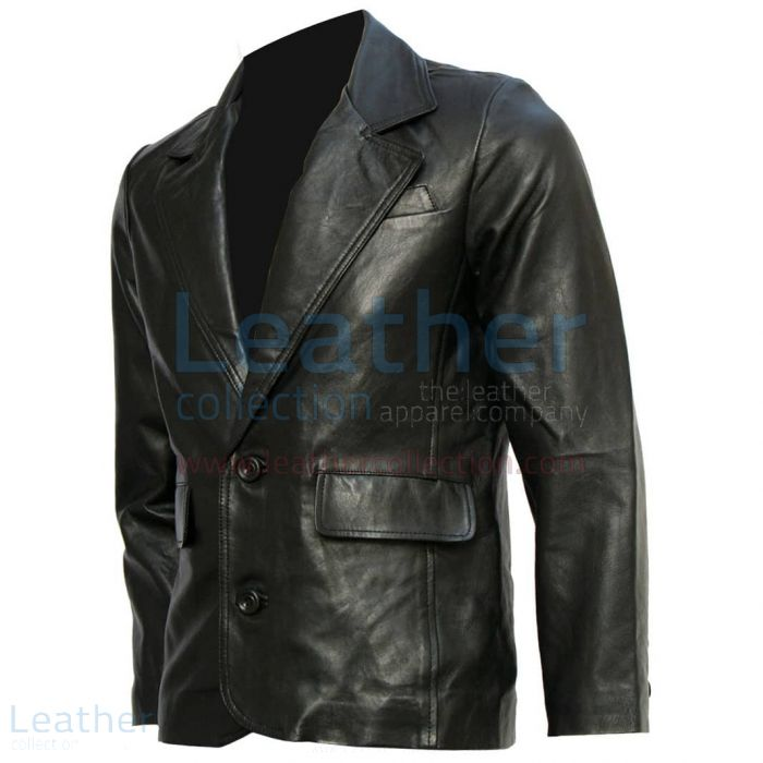 Mission Impossible Tom Cruise Black Leather Blazer front view