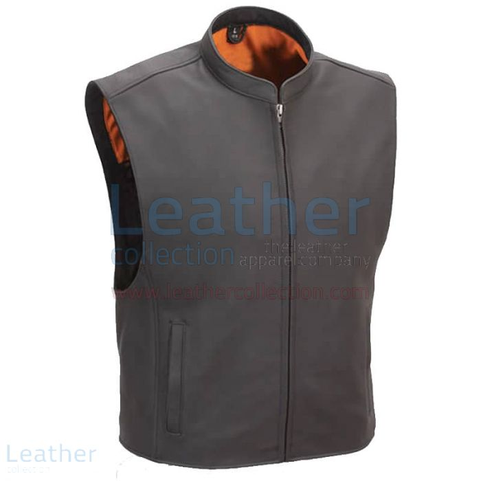 Motorcycle Club Vest with Seamless Back front view