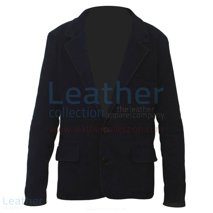 Navy Suede Blazer Fashion front view