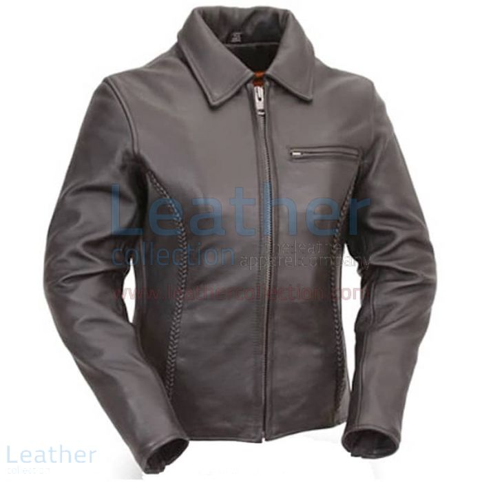 Premium Black Naked Leather Braided Cruiser Motorcycle Jacket front view