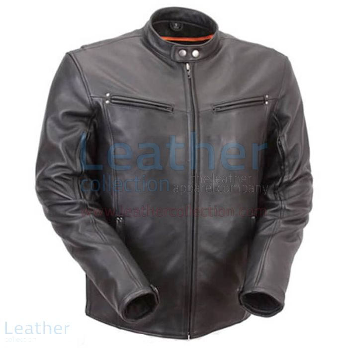 Premium Leather Rider Jacket with Multiple Vents front view