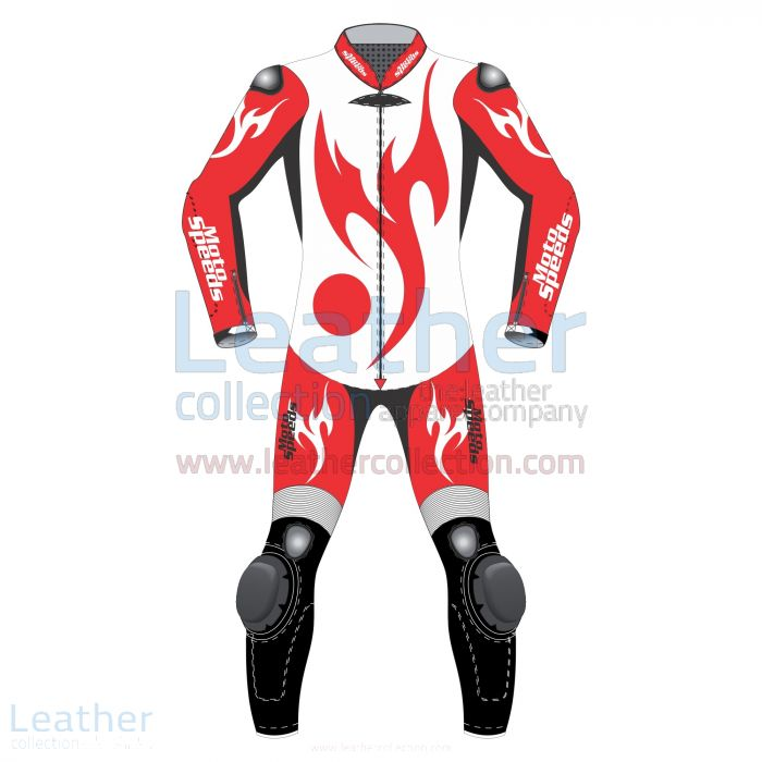 Red Eagle Motorcycle Racing Leathers front view