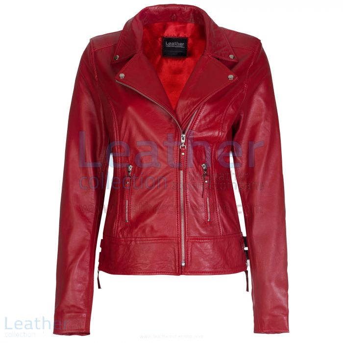 Red Vintage Biker Leather Jacket front view