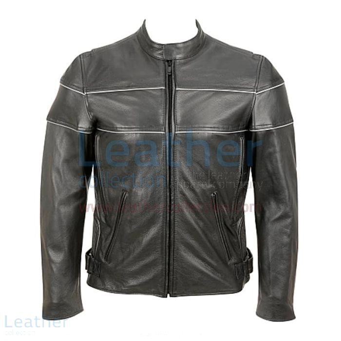 Reflector Stripe Piping Jacket for Motorbike front view
