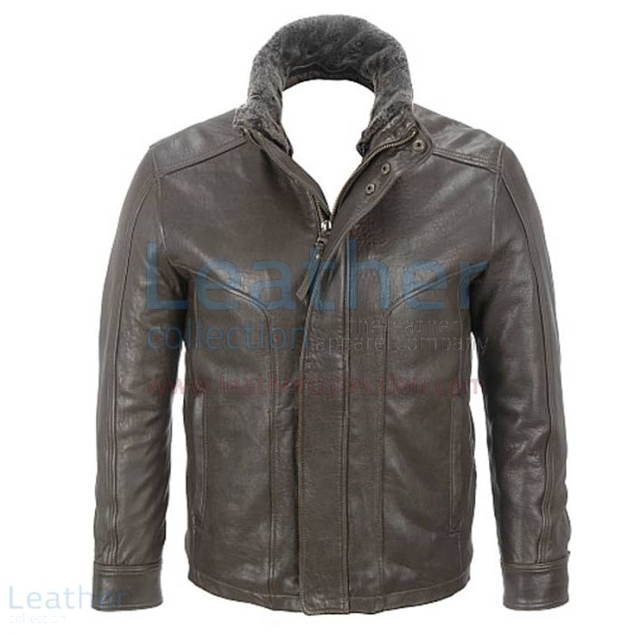 Rugged Leather Jacket with Removable Shearling Collar front view